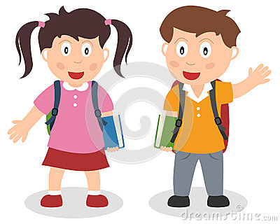 School Kids with Bag and Book