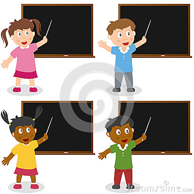 School Kids with Blackboard