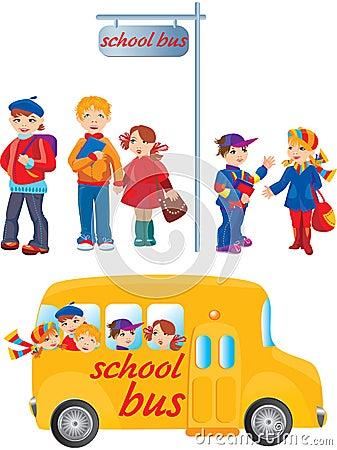 School kids on bus stop