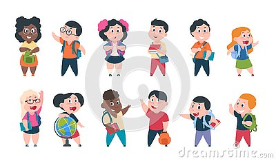 School kids. Cartoon children with books and school supplies, happy cute boys and girls pupils characters. Vector study Vector Illustration