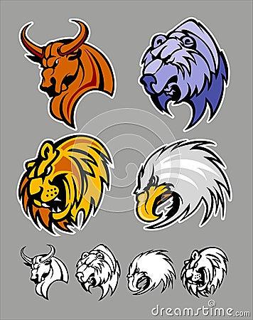 Free School Mascot Logos Bull Bear Lion Eagle Stock Photo - 16785980