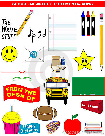 School Newsletter Elements/Icons Vector