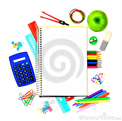 School notebook with supplies