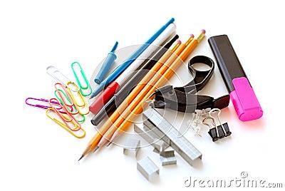 School office supplies on white