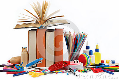School and office supplies on white background.