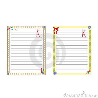 School paper notes isolated on white