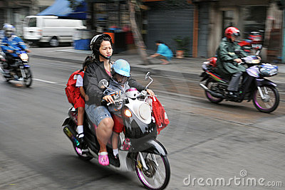 School Run by Motorbike Editorial Stock Image