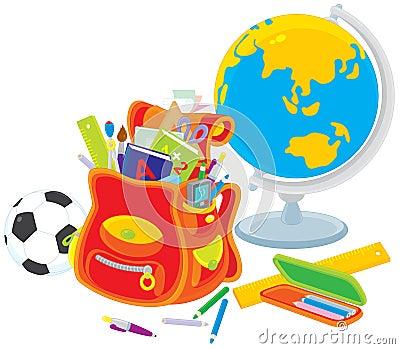 School satchel, globe, football