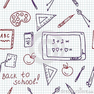 School seamless pattern in the notebook