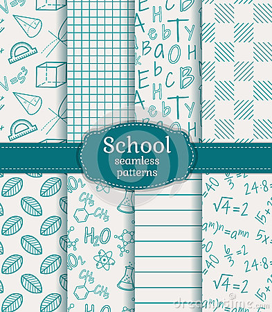 Free School Seamless Patterns. Vector Set. Stock Images - 42618734