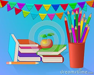 School set on blue background Cartoon Illustration