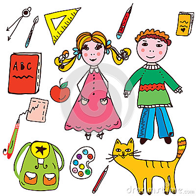 School set - kids and objects