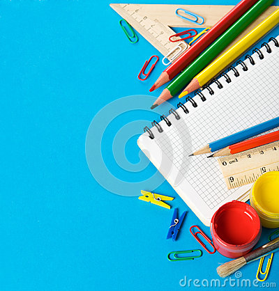 School stationery on the blue