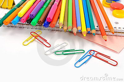 School stationery  over white