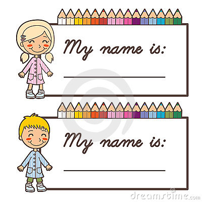 Set of two name cards for school, boy and girl versions with room for ...