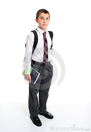 School student in white shirt and greay trousers.