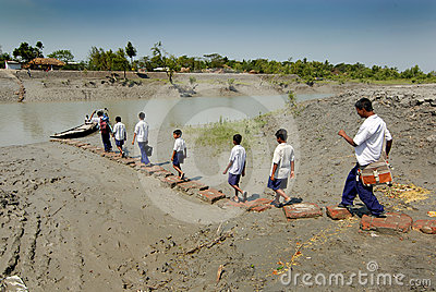 School Students at Indian Village Editorial Stock Image