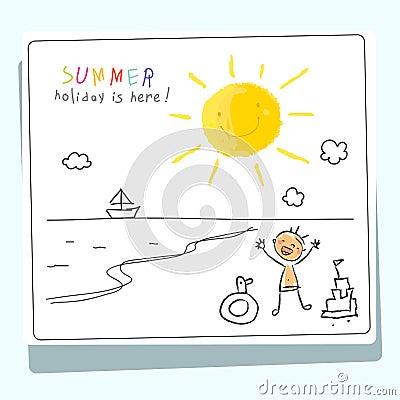 School Summer vacation, children holiday Vector Illustration