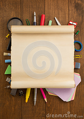 Free School Supplies On Wood Royalty Free Stock Images - 54862559