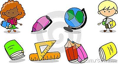 School supplies, school children, vector