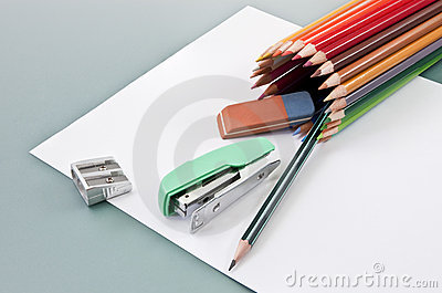 School supplies on a white paper