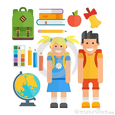 School symbols and kids vector set. Vector Illustration