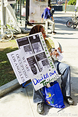 School Teacher At Occupy LA Demonstration Editorial Stock Image