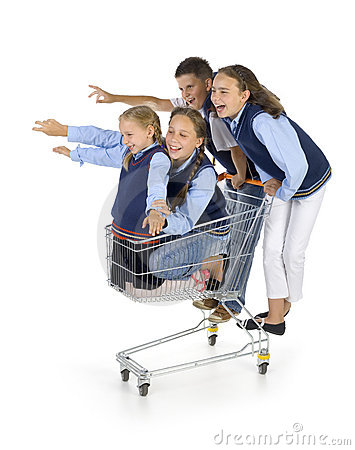 School team with trolley