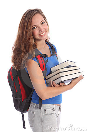 School teenage student girl with education books