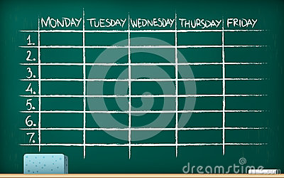 School timetable on blackboard