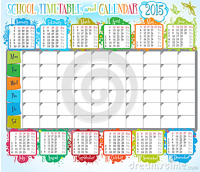 School Timetable And Calendar Vector Image 44244461 – School Time Table Designs