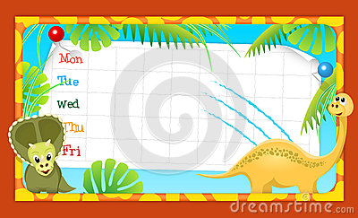 School timetable with merry dinosaurs, illustratio