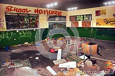 School vandalism Stock Photo