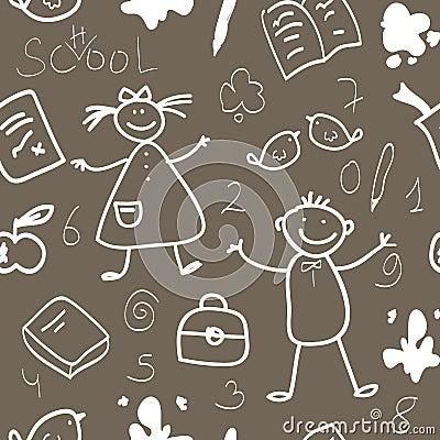 School vintage seamless pattern sketch
