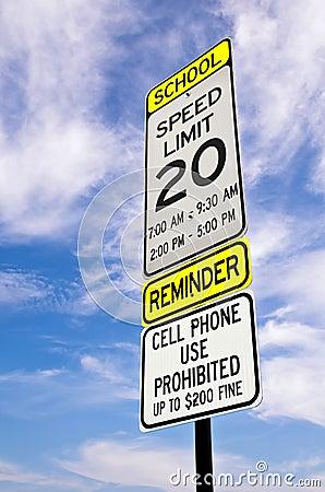 School zone reminder sign