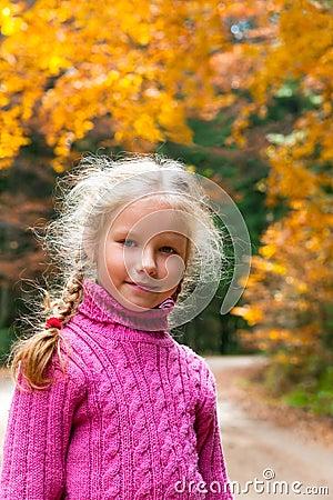 Free Schoolage Girl Autumn Outdoor Portrait Stock Photos - 17318343