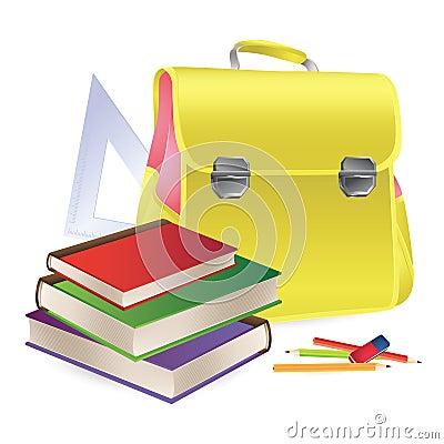 Schoolbag with school supplies