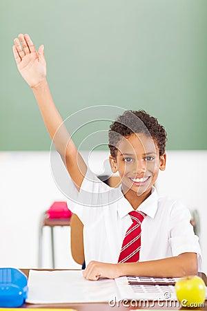 Schoolboy arm up