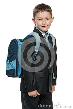 Schoolboy with a bag