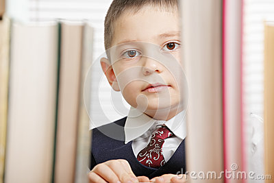 Schoolboy behind books