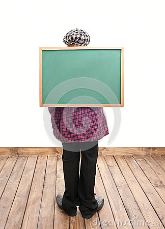 Schoolboy with blackboard