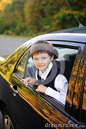 Schoolboy into the car