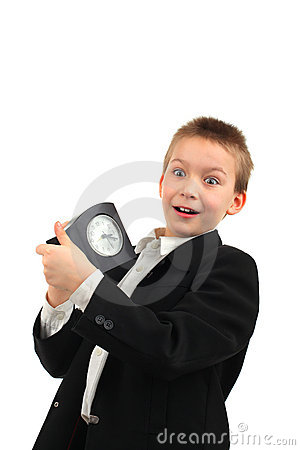 Schoolboy with clock