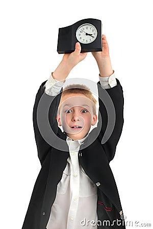 Schoolboy with clock