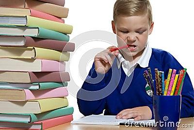 Schoolboy at the desk