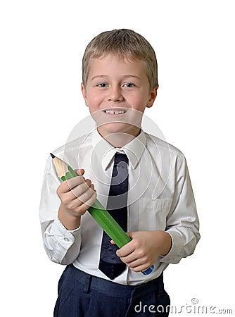 Schoolboy holding pencil