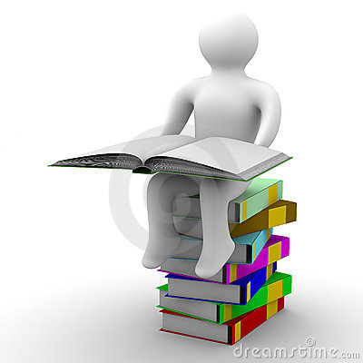 Schoolboy with open book on white background