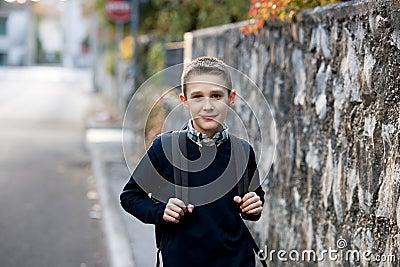 Schoolboy outdoors