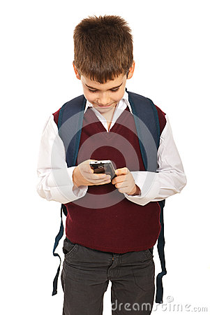 Schoolboy with phone mobile
