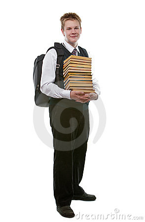 The schoolboy in a school uniform with a huge pack